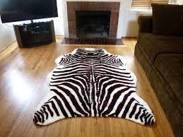 plush brown white faux zebra skin