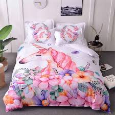 unicorn bedding sets queen size watercolor printed bed set girl flower duvet cover colored king size animal horse cute bed cover