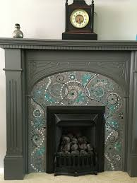 mosaic fireplace surround made with glass tiles wall painted with farrow and ball purbeck stone