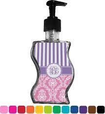 pink purple damask wave bottle soap lotion dispenser personalized