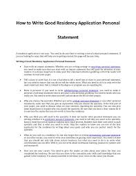 Writing A Good Residency Application Personal Statement