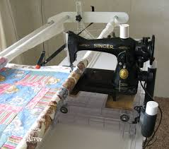 Vintage Singer on a Quilt Frame • Freemotion by the River & Handi quilter frame and 15-91 singer sewing machine Adamdwight.com