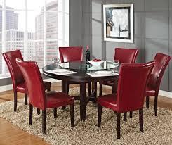 round dining room set. Steve Silver Hartford 7 Piece Round Dining Room Set W/ Red Chairs In Dark Oak - BEYOND Stores Y