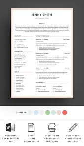Resume Template Word Modern Clean Cv Readydocxfilesprint