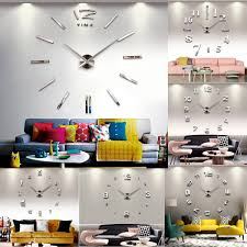 fashion large diy wall clock home decor 3d mirror sticker big timer art watch