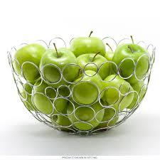 circles pattern wire fruit bowl chrome metal  kitchen accessories
