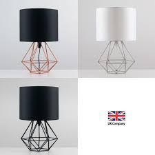 E Geometric Retro Style Wire Cage Table Lamps Bedside Lights  Copper Chrome  Black  EBay