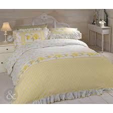 frilled fl rose duvet cover vintage cream lemon yellow bedding bed set co uk kitchen home