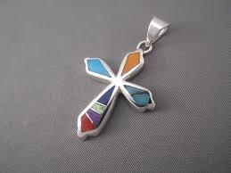 cross pendant multi color inlay cross pendant by native american indian jeweler pete