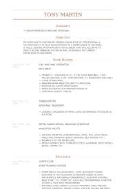 Cnc Machine Operator Resume Samples Visualcv Resume Samples Database