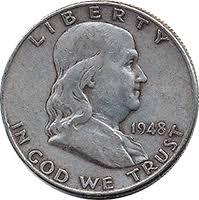 1959 Franklin Half Dollar Value Chart 1948 D Ben Franklin Half Dollar Value Cointrackers