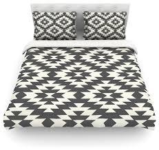 amanda lane navajo black cream geometric featherweight duvet cover 88 x88
