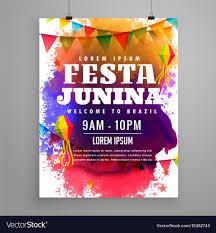 invitation flyer festa junina invitation flyer template design vector image on vectorstock