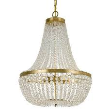 crystorama lighting group rylee antique gold six light chandelier with hand cut faceted crystal beads