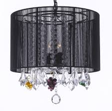 g7 b42 black 604 3 crystal chandelier with shade dressed with crystal gs