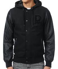 dravus braydon black faux leather wool varsity jacket