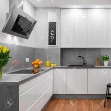 Delightful Cocina De Diseño Moderno En Colores Blanco Y Gris Foto De Archivo   58747226