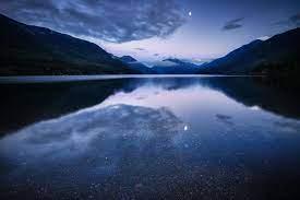 Mountain Lake Water Surface Night Blue ...