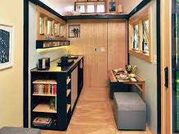 tiny home with fold down dining table