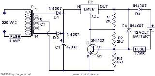 chager circuit for smf batteries electronic circuits and 12v battery charger circuit using lm317 at Battery Charger Block Diagram