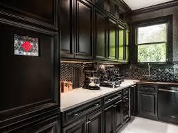 Contemporary Black Kitchen With Chevron Backsplash