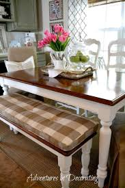 Gorgeous French Country dining room table and bench seat interior design  ideas and home decor from Adventures in Decorating: It's the Little Things  .love ...