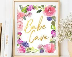 babe cave sign office decor printable print wall art inspirational quote motivational cute cute office o34 cute