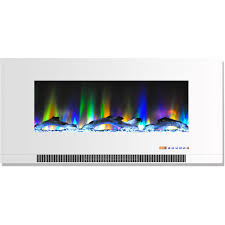 wall mount electric fireplace in white with multi color flames and driftwood log display
