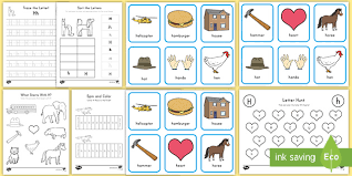 This phonics game is a guessing game to review the letter h sound. Letter H Activity Pack Alphabet Worksheets Twinkl