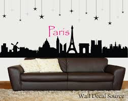 Paris Living Room Decor Paris Skyline Silhouette Wall Decal Paris Wall Art Eiffel