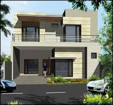 Double Storey Elevation Design With Large Windows And Greenish