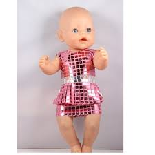 2017 Doll Two Colors Sequin Dress Uniforms Fit 43cm Baby Born Clothes Outfit for AD90