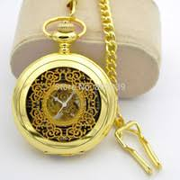 distributors of discount mechanical wind up pocket watches 2017 h025 luxury skeleton golden tone hand wind up mechanical mens pocket watch chain nice xmas gift watch for congratulation