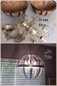 hanging wire baskets brass chandelier fixture silver metallic spray paint homemade chandelier