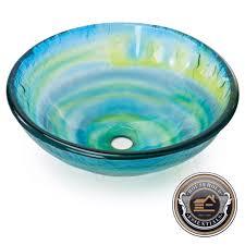 modern glass vessel sink bathroom vanity bowl round blue green yellow