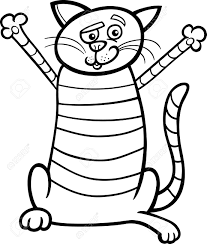 1103x1300 black and white cartoon ilration of happy tabby cat for