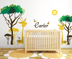 baby nursery ideas safari giraffe and birds decals for walls on baby room jungle wall art with repositionable girls room nursery jungle wall decals monkey decal