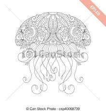 vector ilration cartoon jellyfish with fl doodle ornament design for coloring book page
