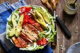 grilled chicken salad. Delighful Salad Grilled Chicken Salad With Avocado And Feta On C