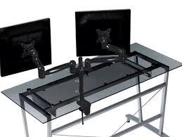 ergonomic desk setup with two monitors