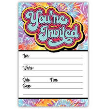 Hippie Tie Dye Invitations 20 Count With Envelopes 60s Or 70s Birthday Party