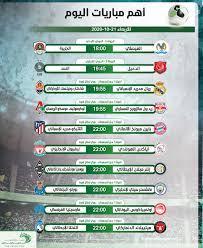 موعد اهم مباريات اليوم الاربعاء 21-10-2020 والقنوات الناقلة - التيار الاخضر