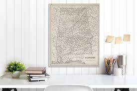 alabama state map alabama map canvas antiqued alabama map canvas wall decor alabama wall decor map of alabama canvas