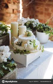 Wedding Cake White Small Flowers Green Leaves Table Candlesflowers
