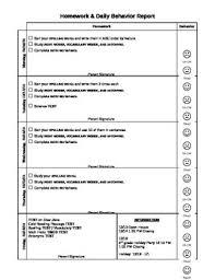 Homework Chart For Parents Homework And Daily Behavior Chart