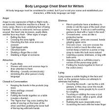 Text For Body Language Cheat Sheet Ela In The Middle