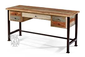 solid pine wood rustic 5 drawer writing desk with metal legs in multi colored finish