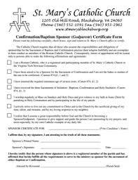 Fillable Online Confirmationbaptism Sponsor Godparent Certificate