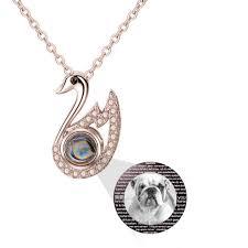 Personalized Light Projective Photo Necklace Amazon Com Bon Soir Personalized Swan 100 Languages I Love