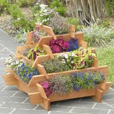 wooden pyramid flower planter